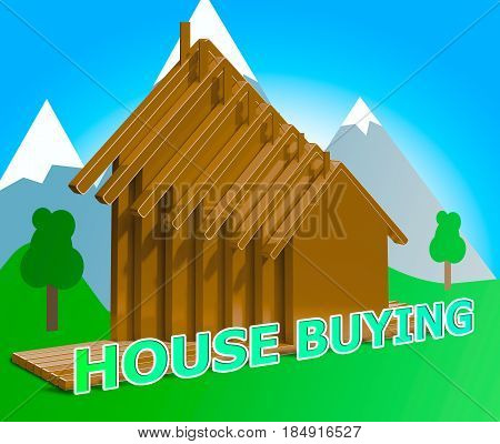 House Buying Means Real Estate 3D Illustration