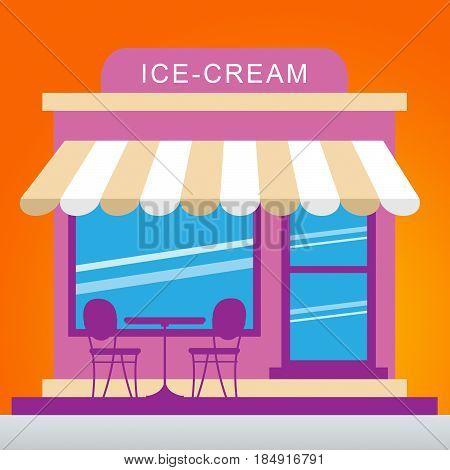 Ice Cream Store Shows Dessert Shop 3D Illustration