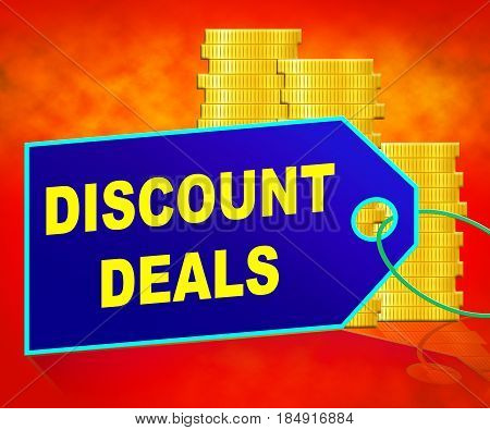 Discount Deals Representing Bargains Discounts 3D Illustration