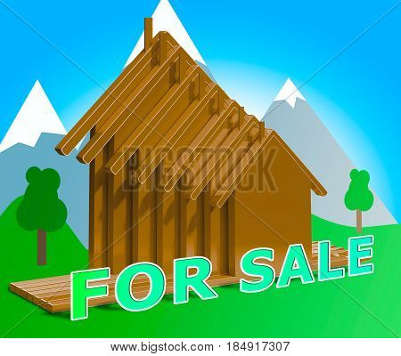 Houses For Sale Means Sell House 3D Illustration
