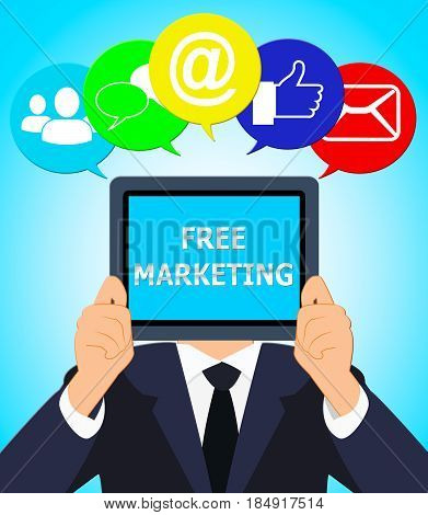 Free Marketing Represents Biz E-marketing 3D Illustration