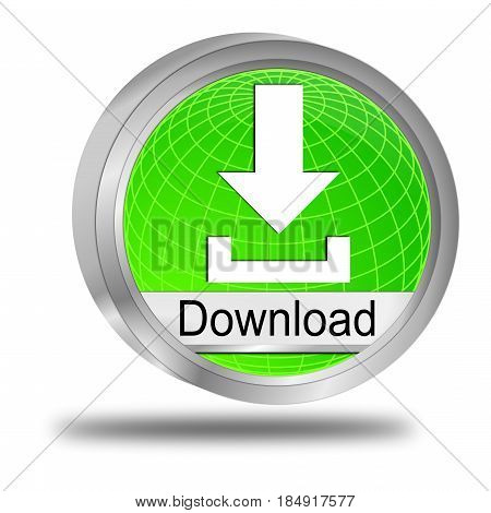 decorative silver green Download button - 3D illustration