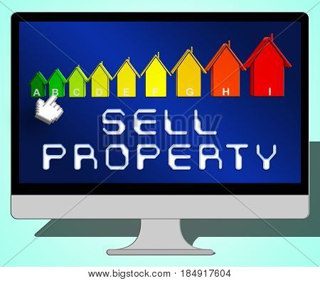 Sell Property Representing House Sales 3D Illustration