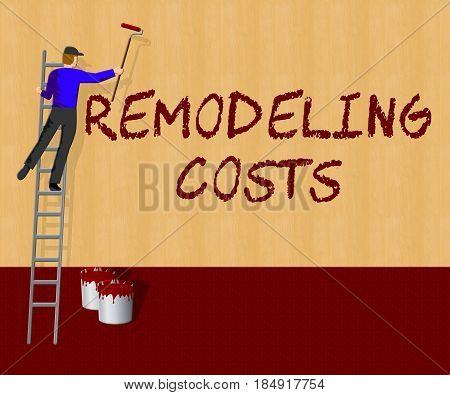 Remodeling Costs Shows House Remodeler 3D Illustration