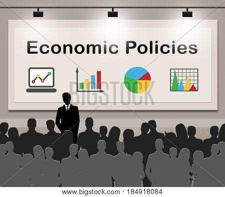 Economic Policies Means Economics Guide 3D Illustration
