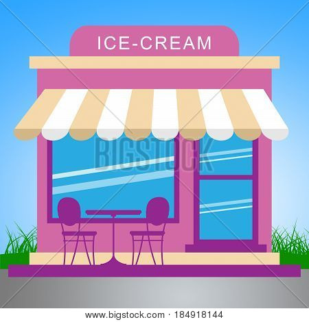 Ice Cream Store Meaning Dessert Shop 3D Illustration