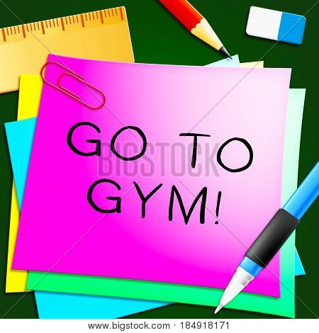 Go To Gym Shows Working Out 3D Illustration