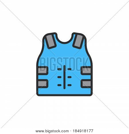 Bulletproof vest Body armor line icon filled outline vector sign linear colorful pictogram isolated on white. Symbol logo illustration