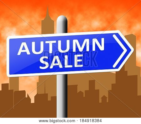 Autumn Sale Representing Commerce Sales 3D Illustration