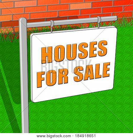 Houses For Sale Means Sell Property 3D Illustration