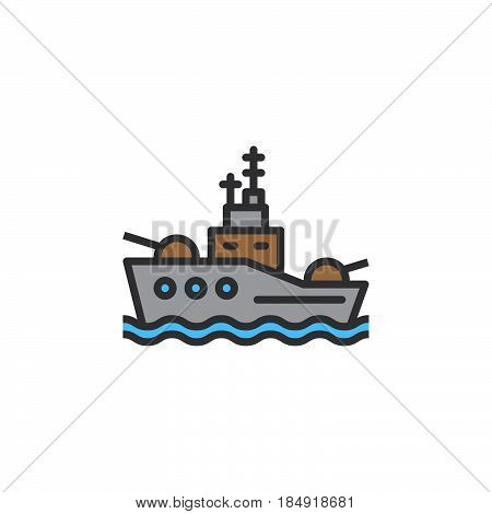 Battleship line icon filled outline vector sign linear colorful pictogram isolated on white. Symbol logo illustration