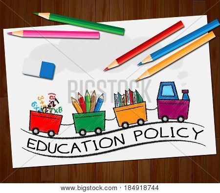 Education Policy Showing Schooling Procedure 3D Illustration