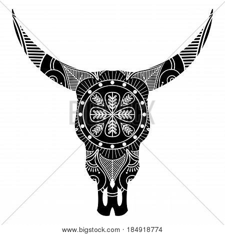 Wild animal skull in black and white  inspired by hand drawn art and native American people tattoos and art with manadala decoration on the top
