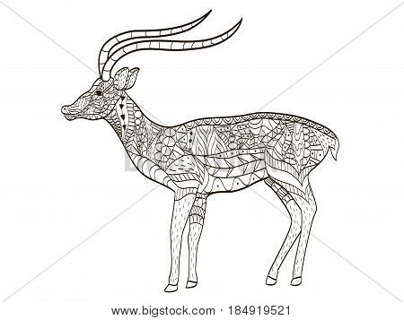 antelope coloring book vector illustration. Anti-stress coloring for adult deer. Zentangle style. Black and white lines. Lace pattern
