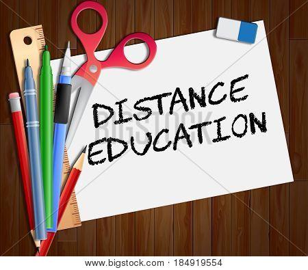 Distance Education Shows Correspondence Course 3D Illustration