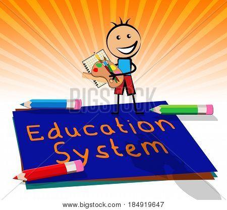 Education System Displays Schooling Organization 3D Illustration