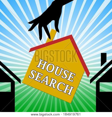 House Search Indicating Housing Finder 3D Illustration