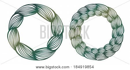 Vector Stencil Lacy Round Frame With Carved Openwork Pattern Like Braid. Template For Interior Desig