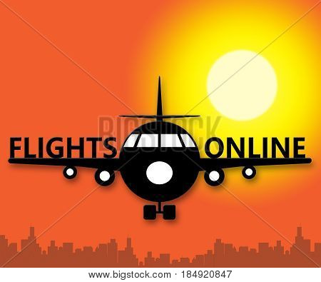 Flights Online Meaning Web Flight 3D Illustration