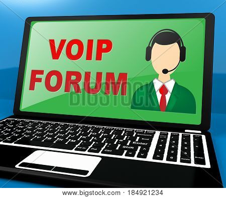 Voip Forum Showing Internet Voice 3D Illustration