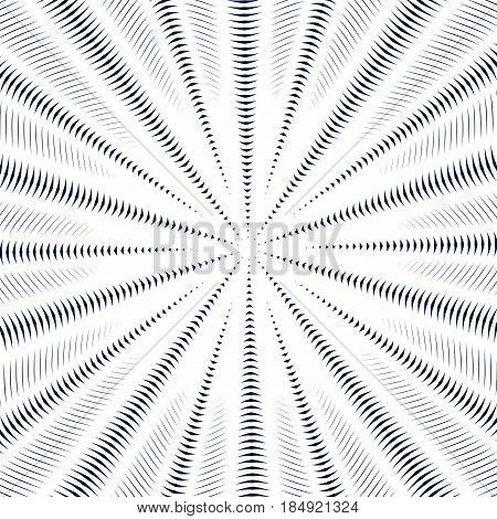 Optical illusion moire background abstract lined monochrome vector tiling. Unusual geometric pattern with visual effects.