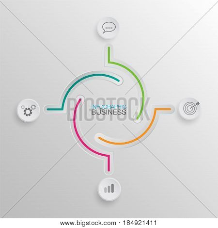 background infographics white buttons number options template. Can be used for work flow layout, diagram, business step options, banner, web design. Business data visualization. Process chart.