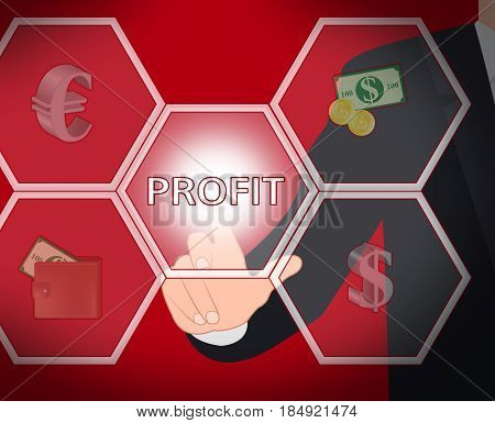 Profit Represents Company And Income 3D Illustration