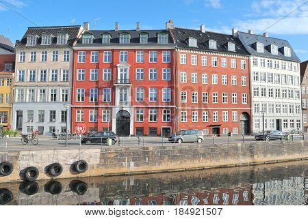 Copenhagen Denmark. Beautiful embankment of the Old town in a sunny summer morning