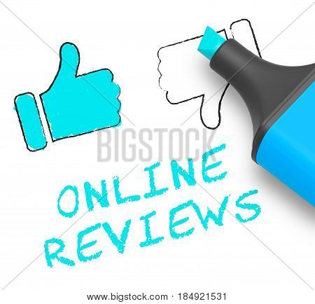 Online Reviews Displays Site Performance 3D Illustration