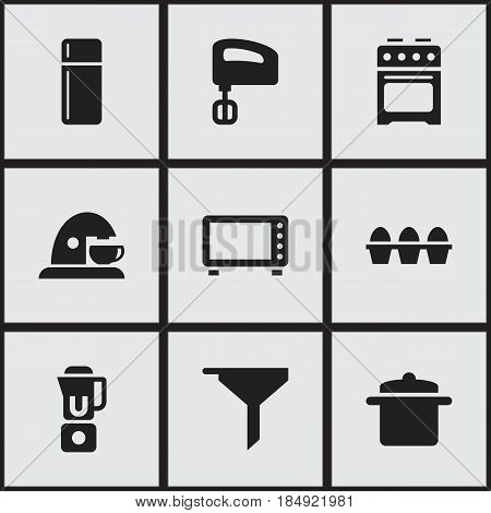 Set Of 9 Editable Cooking Icons. Includes Symbols Such As Filtering, Agitator , Hand Mixer. Can Be Used For Web, Mobile, UI And Infographic Design.