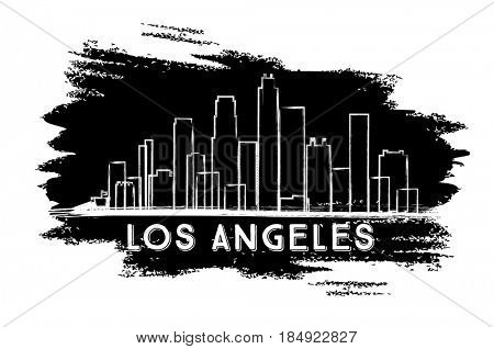 Los Angeles Skyline Silhouette. Hand Drawn Sketch. Business Travel and Tourism Concept with Modern Architecture. Image for Presentation Banner Placard and Web Site.