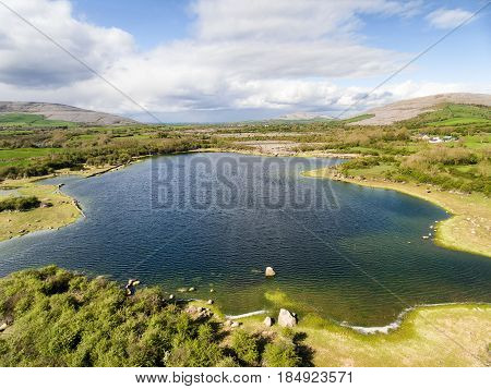 Epic Aerial View Of The Beautiful Irish Countryside Nature Landscape From The Burren National Park I