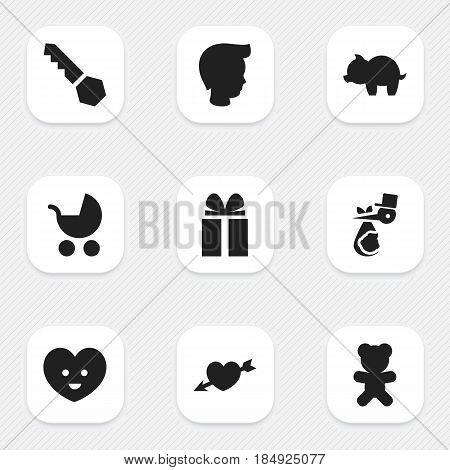 Set Of 9 Editable Family Icons. Includes Symbols Such As Perambulator, Gift, Moneybox And More. Can Be Used For Web, Mobile, UI And Infographic Design.