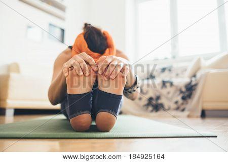 Close up image woman feet in deep tilt