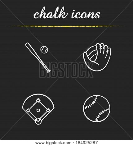 Baseball chalk icons set. Bat and ball, mitt, field. Softball equipment. Isolated vector chalkboard illustrations