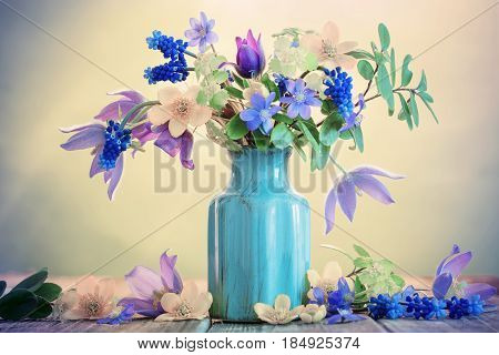 the still life with beautiful  spring flowers