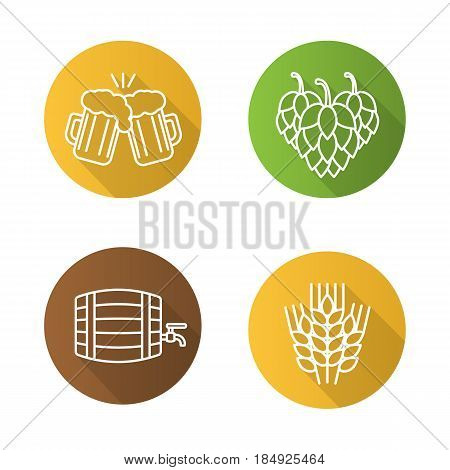 Beer flat linear long shadow icons set. Wheat ears, hop cones, alcohol wooden barrel, toasting beer glasses. Vector line symbols