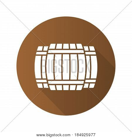 Alcohol wooden barrels. Flat design long shadow icon. Whiskey or rum barrels. Vector silhouette symbol