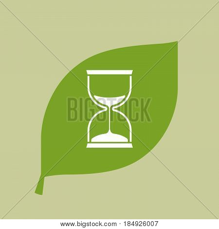 Vector Green Leaf Icon With A Sand Clock