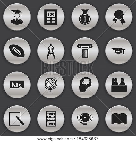 Set Of 16 Editable Graduation Icons. Includes Symbols Such As School Board, Calculator, First Place And More. Can Be Used For Web, Mobile, UI And Infographic Design.