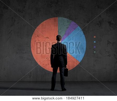 Business man standing over diagram background. Business, office, career, concept.