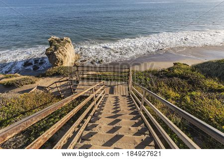Stairs leading to El Matador State Beach in Malibu California.