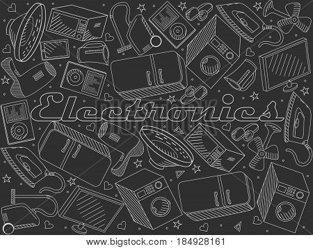 Electronics coloring book line art design vector illustration chalky. Separate objects. Hand drawn doodle design elements.