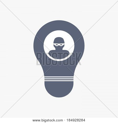 Isolated Light Bulb Icon With A Thief