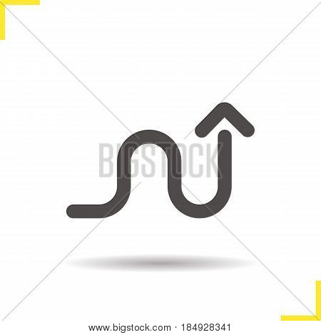 Curved arrow glyph icon. Drop shadow direction silhouette symbol. Winding arrow. Negative space. Vector isolated illustration