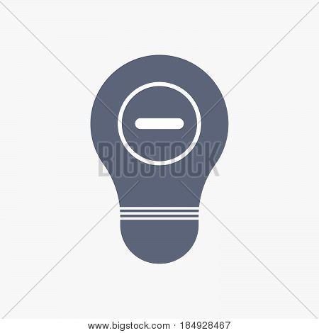 Isolated Light Bulb Icon With A Subtraction Sign