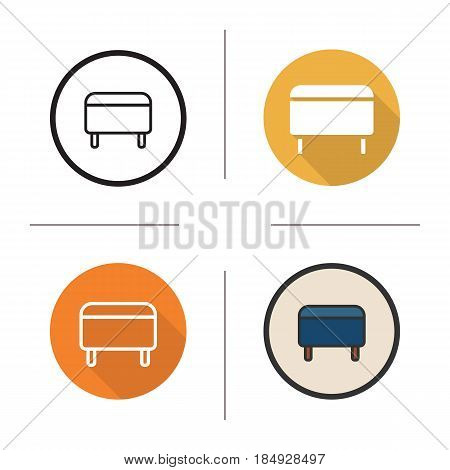 Ottoman icon. Flat design, linear and color styles. Pouf. Footstool. Isolated vector illustrations