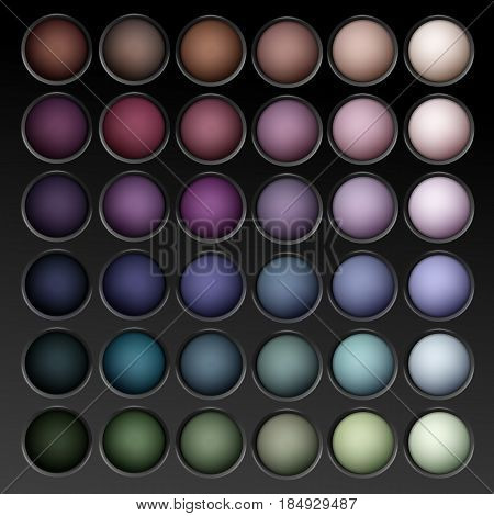 Vector Round MultiColored Pastel Light Brown Cream Ocher Olive Yellow Green Bright Blue Turquoise Pink Violet Vinous Eye Shadows palette