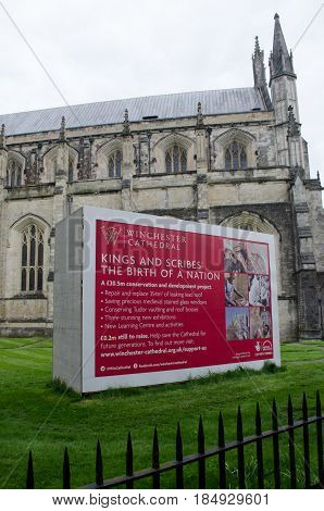 Winchester United Kingdom -21 April 2017: Fundraising signboard outside Winchester Cathedral