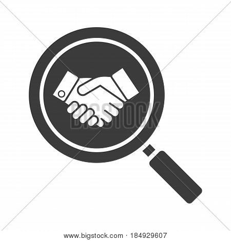 Business partner search glyph icon. Silhouette symbol. Magnifying glass with handshake. Negative space. Vector isolated illustration